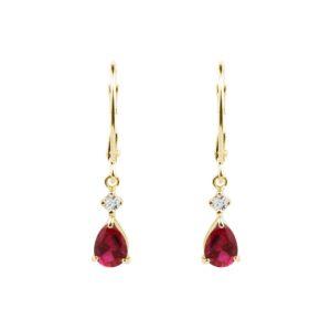 Visací náušnice s rubíny a diamanty KLENOTA