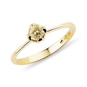 Zlatý prsten se žlutým diamantem KLENOTA