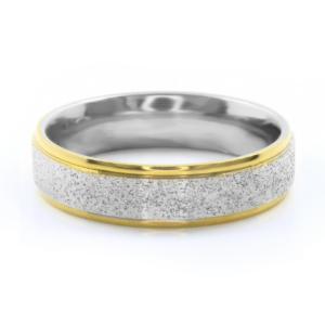 BRUNOshop.cz S2782 Prsten z pískované chirurgické oceli SILVER/GOLD Velikost: 12
