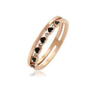 BRUNOshop.cz S3289 Dvojitý prsten se srdíčky ROSE GOLD Velikost: 8