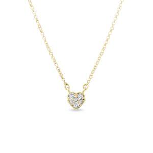 Diamantový přívěsek se srdcem ve žlutém zlatě KLENOTA