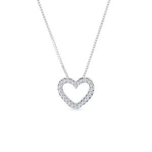 Náhrdelník ve tvaru diamantového srdce z bílého zlata KLENOTA