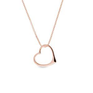 Náhrdelník ve tvaru srdce v růžovém zlatě KLENOTA