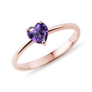 Prsten s ametystem ve tvaru srdce v růžovém zlatě KLENOTA