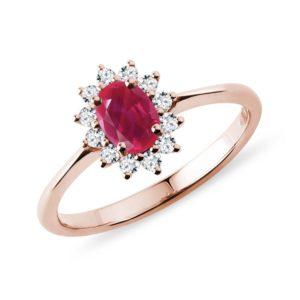 Prsten z růžového zlata s rubínem a diamanty KLENOTA