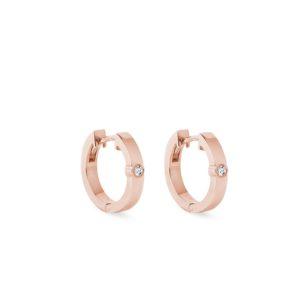 Zlaté kruhové náušnice s diamantem KLENOTA