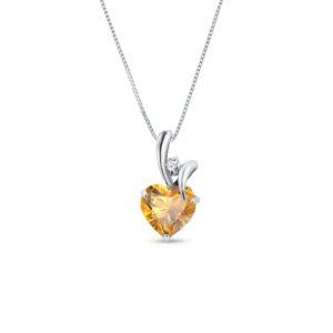 Zlatý náhrdelník s citrínem a diamantem KLENOTA