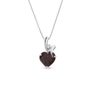 Zlatý náhrdelník srdce s granátem a diamantem KLENOTA