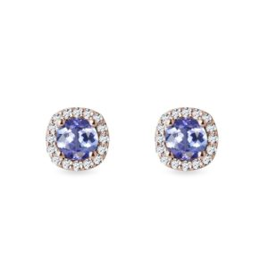Diamantové náušnice s tanzanity v růžovém zlatě KLENOTA