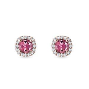 Diamantové náušnice s turmalíny v růžovém zlatě KLENOTA