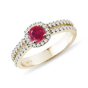 Luxusní diamantový prsten s rubínem ve žlutém zlatě KLENOTA