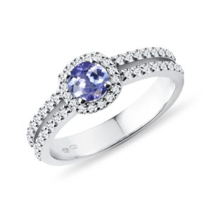 Luxusní diamantový prsten s tanzanitem v bílém zlatě KLENOTA