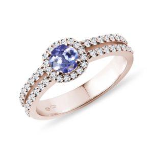 Luxusní diamantový prsten s tanzanitem v růžovém zlatě KLENOTA