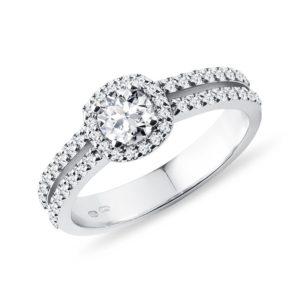 Luxusní diamantový prsten v bílém 14k zlatě KLENOTA