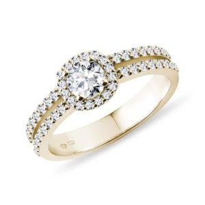 Luxusní diamantový prsten ve žlutém 14k zlatě KLENOTA