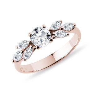 Úchvatný diamantový prsten z růžového 14k zlata KLENOTA