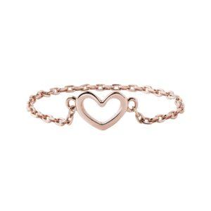 Řetízkový prsten srdce z růžového zlata KLENOTA