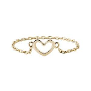 Řetízkový prsten srdce ze žlutého zlata KLENOTA