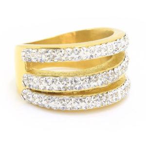 BRUNOshop.cz S1883 Prsten z chirurgické oceli GOLD s krystalky Velikost: 11