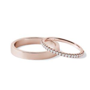 Set snubních prstenů z růžového 14k zlata s diamanty KLENOTA
