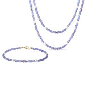 Souprava tanzanitových šperků s perlami ve zlatě KLENOTA