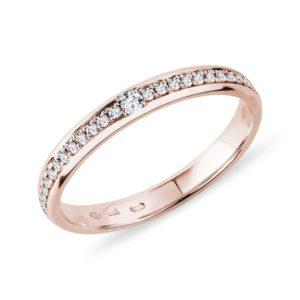 Dámský prsten z růžového zlata s diamanty KLENOTA