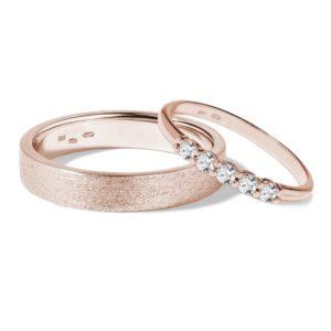 Snubní sada z růžového 14k zlata s diamanty KLENOTA